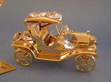 "SWAROVSKI CRYSTAL ELEMENTS ""MODEL T CAR"" FIGURINE-ORNAMENT 24KT GOLD PLATED"