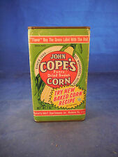 "vintage cope's dried corn tin and cardboard container 4 7/8"" tall and 3"" wide"