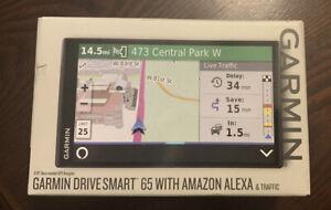 "Garmin DriveSmart 65 With Amazon Alexa 6.95"" GPS Navigator $299 Retail BRAND NEW"