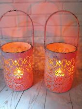 PINK METAL PAIR OF CANDLE TEA LIGHT HOLDERS HANGING SHABBY CHIC HANGING LANTERNS
