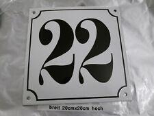 Hausnummer Mega Groß Emaille Nr. 22 schwarze Zahl weißer Hintergrund 20cmx20 cm
