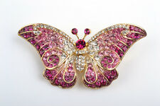 GORGEOUS 18K GOLD PLATED AND GENUINE CZECH CRYSTAL PINK BUTTERFLY BROOCH