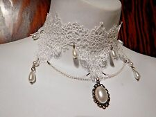 SOUTHERN BELLE white floral lace choker collar necklace Victorian Wedding NEW 2F