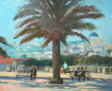 "Listed Nino Pippa Orientalist Painting Palm Tree Turkey Seago Interest 24""X30"""