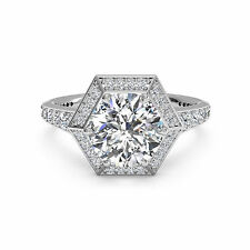Round Solitaire 1.00 Ct Diamond Engagement Ring 14K White Gold Anniversary Rings