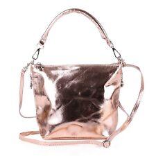 Italienische Leder Umhänge Tasche Cross Hobo Bag Shopper ROSE GOLD Metallic Lack