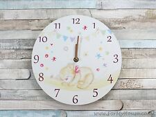 Bear hugs baby children's wall clock 25cm
