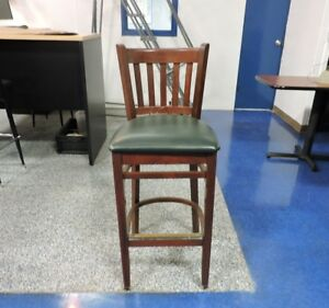 Wood Bar Stool with Green Seat