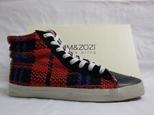Kim & Zozi Size 8 M Plaid Red Leather High Top Sneakers New Womens Shoes