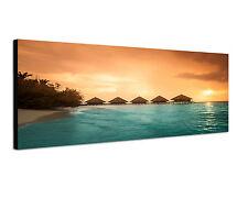 120x40cm Bungalows Lagune Panorama Südsee Traum Meer Leinwand Wandbild Sinus Art