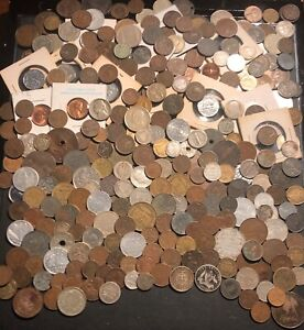 HUGE LOT of OLD 1800's 1900's Coins, Rare, World, Foreign, Silver and American!