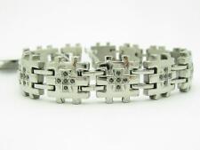 Stainless Steel Diamond Set Black Sapphire Wide Link Bracelet New Gift