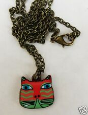 Colourful Cat Orange And Green Pendant On A Bronzed Tone 44Cm Chain