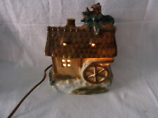 Vintage German Porcelain Perfume Night Lamp Black Forest House Water Mill #^
