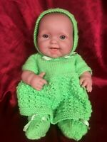 VINTAGE BERENGUER BABY DOLL WITH KNITTED CLOTHES 33 CM