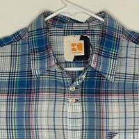 Boss Orange Mens Designer Shirt LS Blue Plaid Large