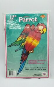 """Vintage 1983 Beistle Tropical PARROT 17"""" Hanging Art Tissue Luau Party Honeycomb"""