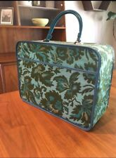 AVON Carrying Case Overnight Bag Suitcase Vintage Blue Green Tapestry Carpet