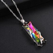 925 Silver Mystic Rainbow Topaz Gems Locket Pendant Long Chain Chocker Necklace