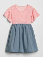 NWT Baby Gap Floral Chambray Mix Fabric Dress 3T Toddler Girl