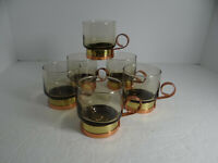 Set of 6 Glass Copper Base Handle 4 oz. Coffee Cappuccino Demitasse Cups