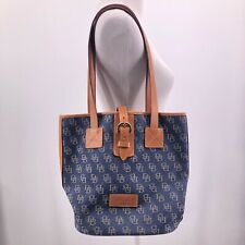 Dooney & Bourke Blue Denim Logo Bucket Leather Trims Buckle Closure Handbag