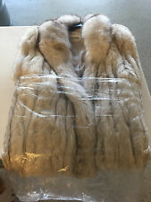 """Blue fox fur jacket ladies large Finnish """"the evans collection"""" white"""