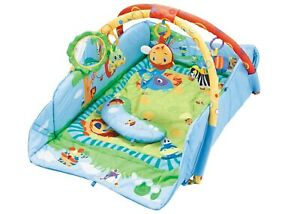 Baby Foldable Playmat Blue Activity Play Mat W/ Comfort Pillow &Sensory Toys