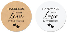 24 Personalised 'Handmade with Love by' Stickers - White or Kraft Labels