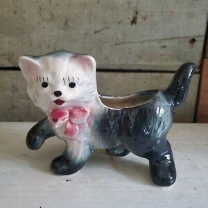 Vintage Black Kitten Cat Planter Pink Bow, 1940s-1950s Ceramic