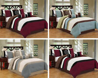 DCP 7Pcs Bed in a Bag Luxury Stripe Comforter Set  King Queen Cal King