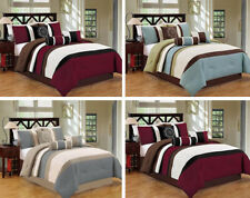 Dcp 7Pcs Bed in a Bag Luxury Stripe Comforter Set King,Queen ,Cal King size