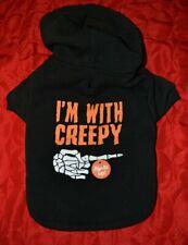 I'm With Creepy Skeleton Hand Dog Hoodie Sweatshirt - Light Up 3 Ways - Small
