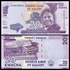 Malawi 20 Kwacha, 2015-2017, P-63 New, UNC, Banknotes, Original