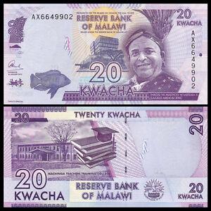 Malawi 20 Kwacha, 2015-2019, P-63 New, UNC, Banknotes, Original