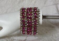 Vintage Bijoux MG Pink White Czech Glass Wide Runway Bracelet Costume Jewelry