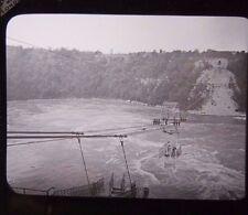 c1890s Victorian CABLE CAR BRIDGE Over RIVER RAVINE Glass Lantern Photo Slide