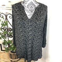 Lucky brand boho print cream and black blouse Size 1X