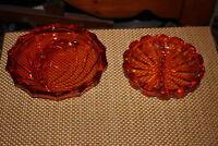 Vintage Orange Color Glass Ashtrays 2 Pieces Cigar Cigarette Ashtray