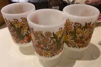 (3) Vintage Pedestal Mugs Milk Glass With Wildflowers Orange & Yellow EUC 1960s