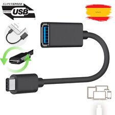Cable Adaptador de datos Micro USB-C Tipo C 3.1 Macho OTG USB 3.0 Hembra NEGRO