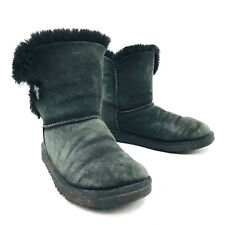 Ugg Australia Bailey Button Black Winter Snow Boot Youth Girls Size 4