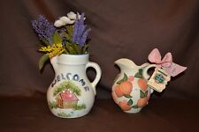 Vintage MidCentury Pottery CERAMIC Pitchers NS Gustin Co & Claire Burke Peaches