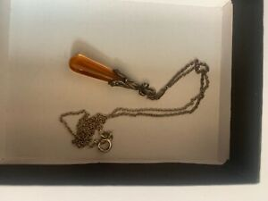 antique silver 925 necklace with amber pendant