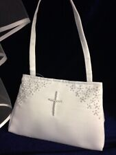 White Satin Bag With Pearl Cross Holy Communion, Bridesmaid/Flower Girl BN