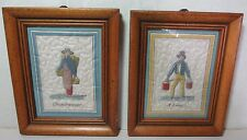 2 Vintage Nicely Framed Trapunto Embroideries French: Chaudronnier & A l'eau