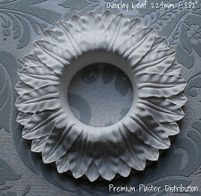 "Small Overlay Leaf, Plaster Ceiling Rose  Center ""Removed Center"" 224 mm / 8.82"""