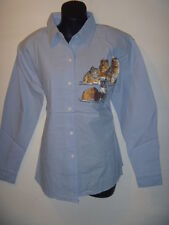 Top Large Blue Cat Lovers Kittens Embroidery Blouse Button Down Shirt 822 NWT
