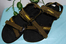 Frisky Men's Sport Black Olive Yellow Strap Flip Flops Sandals Shoes Size 13 46