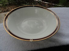 Towle Colonnade Burgundy Gold Trim White Bone China Round Vegetable Serving Bowl